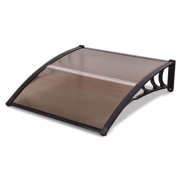 "40"" x 40"" Outdoor Polycarbonate Front Door Window Awning Canopy - Brown"