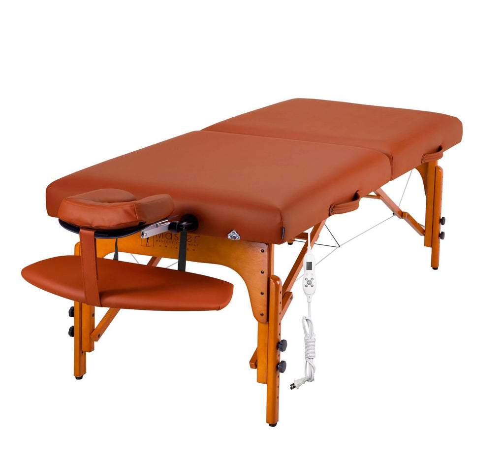 "Santana 31"" LX Heated Therma Top Premium Portable Massage Table Package, Mountain Red with Memory Foam"