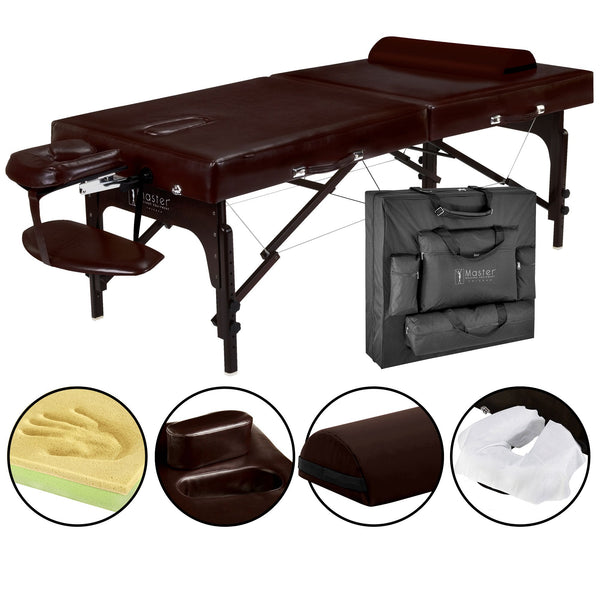 "Supreme 31"" LX Premium Portable Massage Table Package, Chocolate with Memory Foam"