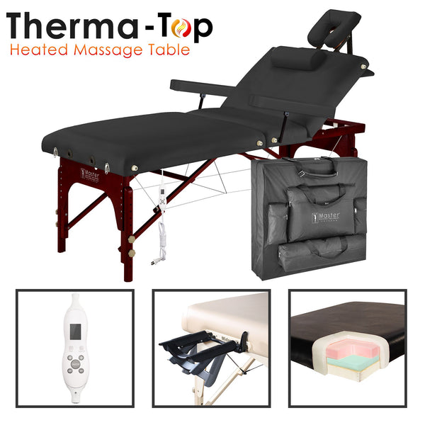 "Montclair 30"" Pro Heated Therma Top Portable Massage Table Package, Black with Memory Foam"