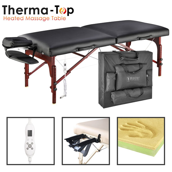 "Montclair 31"" LX Therma Top Premium Portable Massage Table Package, Black with Memory Foam"