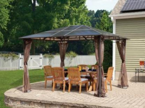 10x12 ft. Aluminum Top Heavy Duty Patio Gazebo with Curtains Mesh Mosquito Net - Dark Coffee