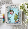 Potted Plants Acetate Vintage Window Scene Card