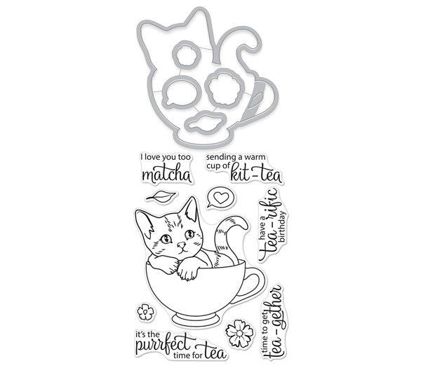 This Adorable Kitty Is Perhaps A Little Naughty Too Kit Tea Stamp Cut Has The Stamps And Matching Dies All Together In One Handy Package