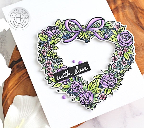 Floral Heart Wreath by Michelle Short for Hero Arts