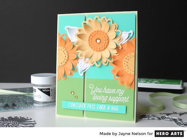 Paper Layering Sunflower by Jayne Nelson for Hero Arts