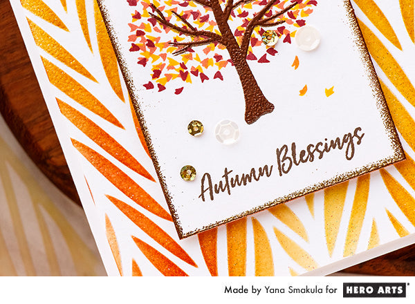 Fall Blessings Card with Color Layering Autumn Tree by Yana Smakula for Hero Arts