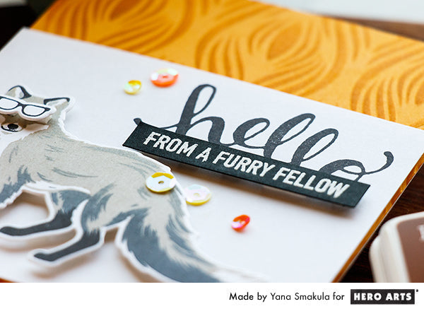 Hello From A Furry Fellow card by Yana Smakula for Hero Arts
