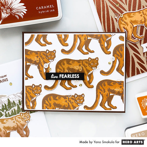 Color Layering Mountain Lion Cards by Yana Smakula for Hero Arts