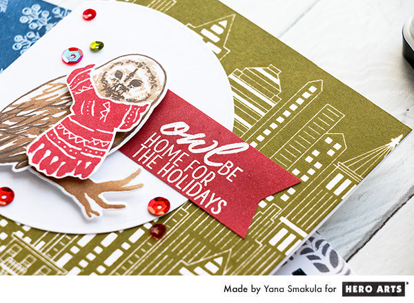 Owl be home for the holidays card by Yana Smakula for Hero Arts