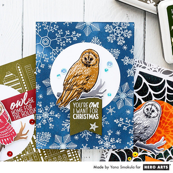 You're owl I want for Christmas card by Yana Smakula for Hero Arts