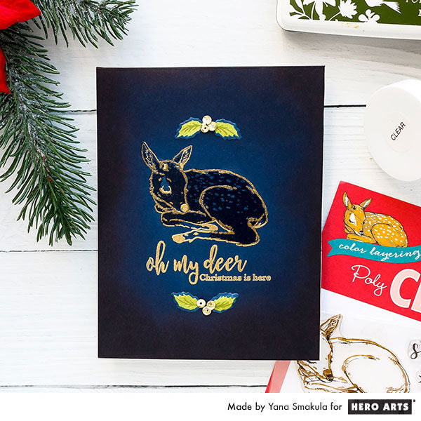 Oh Deer, Christmas is Here card by Yana Smakula for Hero Arts