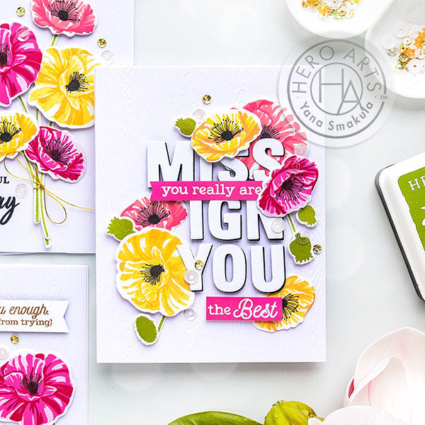 Friendship & Birthday Color Layering Poppy Cards by Yana Smakula for Hero Arts