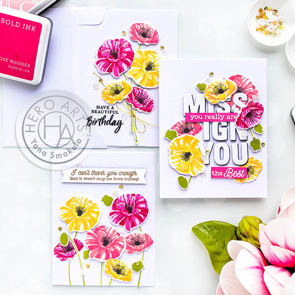 Friendship & Birthday Poppy Cards | Color Layering With Yana Series