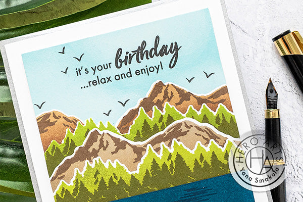 Color Layering Mountains at the Lake Cards by Yana Smakula for Hero Arts