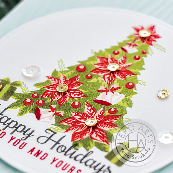 Color Layering Poinsettia Christmas Tree Card by Yana Smakula for Hero Arts