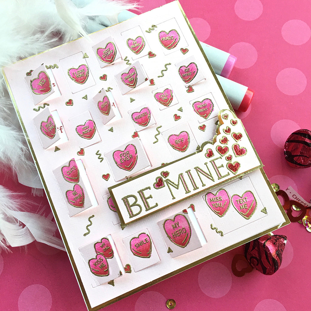 CG805 Candy Hearts Peek-a-Boo Cling