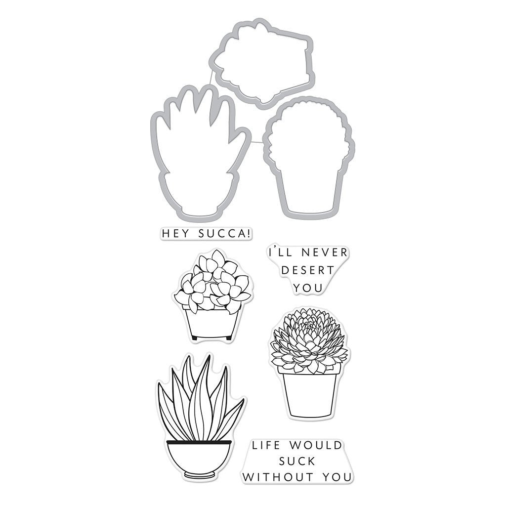 DC236 Hero Florals Succulent Stamp & Cut