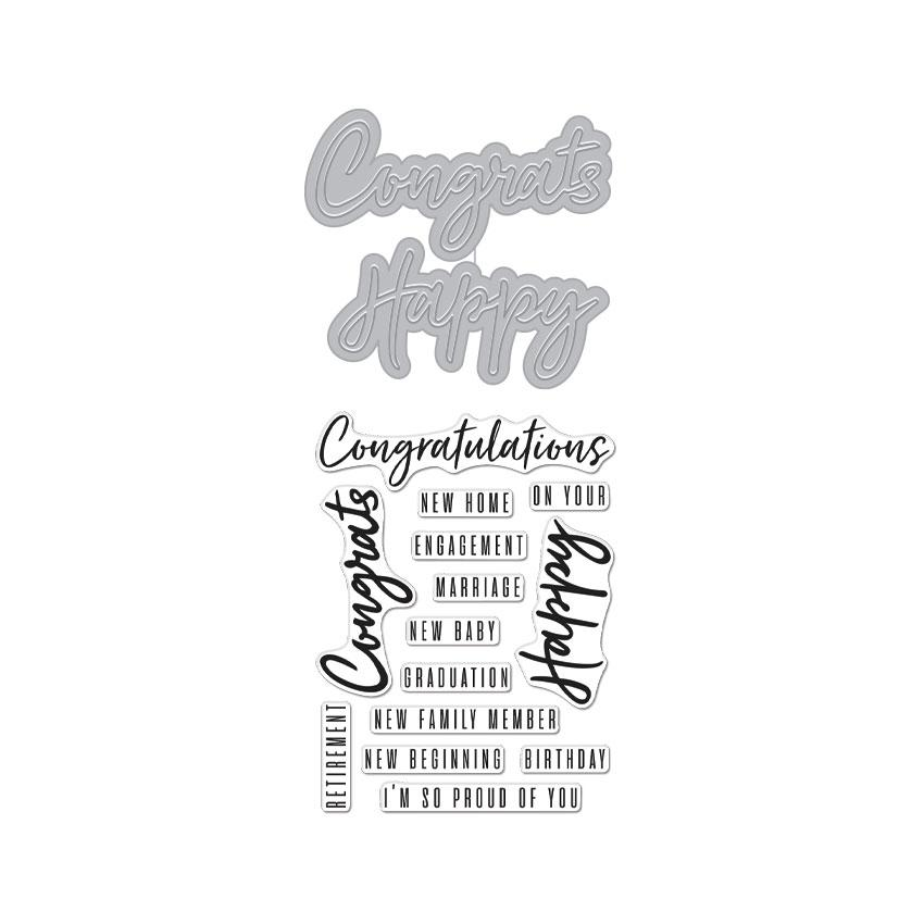DC274 Congrats Happy Stamp & Cut