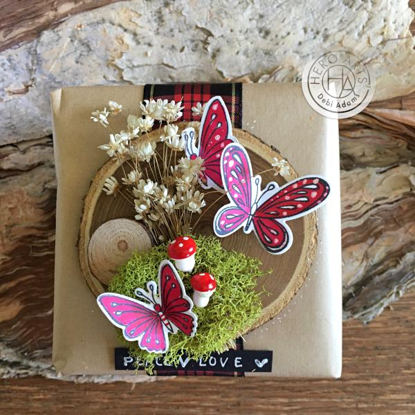 Hero Arts Wood Mounted Vintage Butterfly Bookmark Rubber Stamp H922