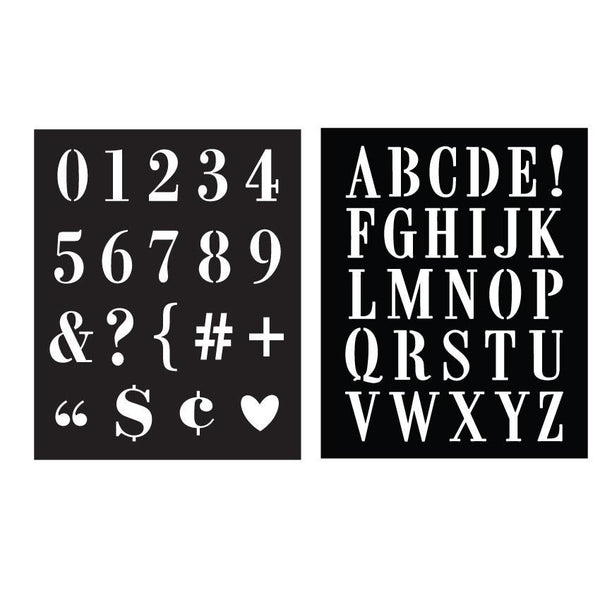SA052 Subway Type Stencil Pair