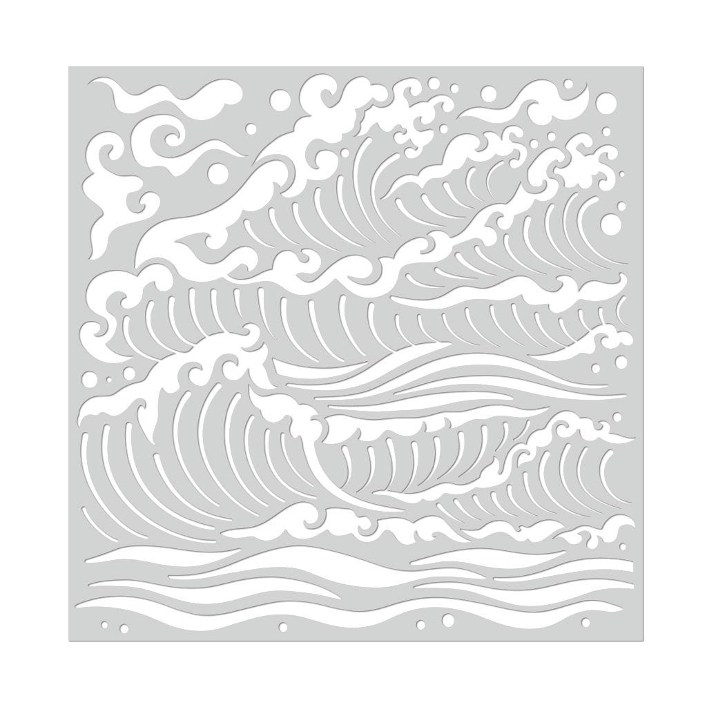 SA110 Mermaid Sea Waves Stencil