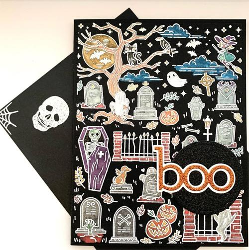 CG783 Halloween Scene Background Cling