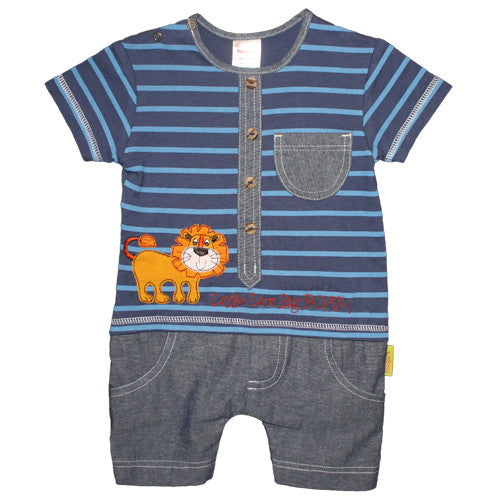 Lion Button Up Playsuit - Kiboko Kids