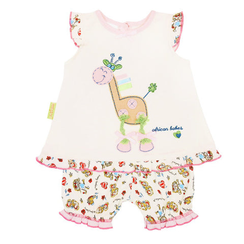 Infant Giraffe Applique bloomer sets - Kiboko Kids