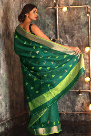 Pine Green Matka Silk With Woven Pallu