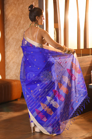 Azure Blue Muslin Silk Saree With Woven Motifs