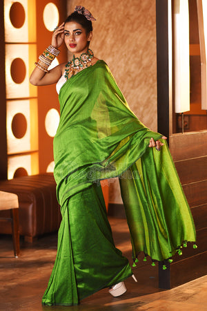 Emerald Green Cotton Saree With Pompoms