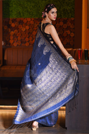 Space Blue Linen Saree With Woven Zari