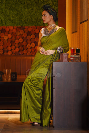 Pear Green Cotton Saree With Pompoms