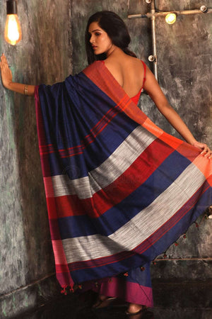 Blue Blended Cotton Saree With Striped Pallu