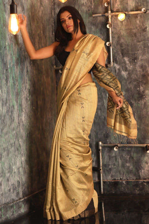 Beige Matka Silk Saree With Woven Pallu Kriti Classics Roopkatha - A Story of Art