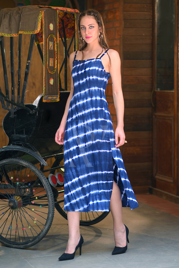 Blue & White Striped Tie-Dye Dress