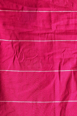 Pink Pure Cotton Saree With Thin Border Cotton Threads Of India Roopkatha - A Story of Art