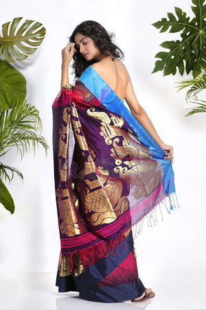 Pink Blended Cotton Saree With Zari Akasha Roopkatha - A Story of Art