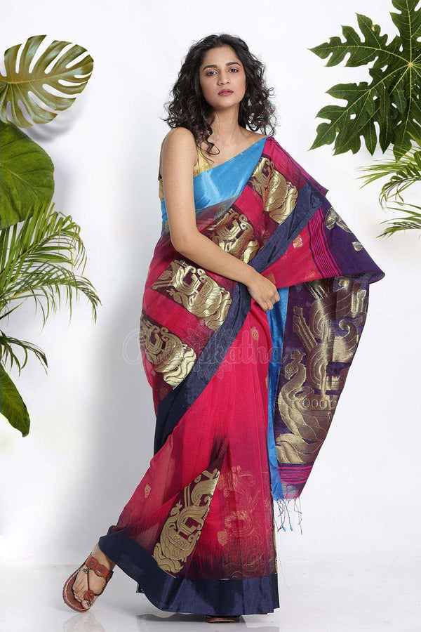 Pink Blended Cotton Saree With Zari