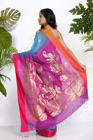 Blue Blended Cotton Saree With Zari