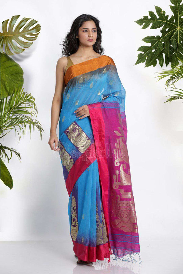 Blue Blended Cotton Saree With Zari Akasha Roopkatha - A Story of Art