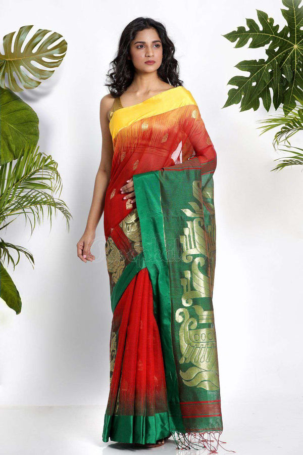 Red Blended Cotton Saree With Zari