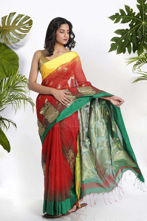 Red Blended Cotton Saree With Zari Akasha Roopkatha - A Story of Art