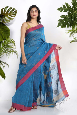 Blue Linen Saree With Woven Butta