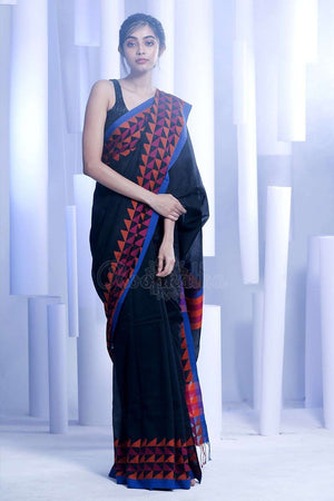 Black Pure Cotton Saree With Woven Border
