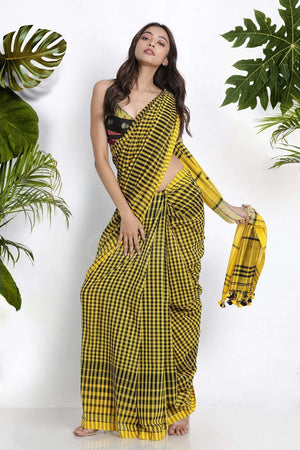 Yellow & Black Pure Cotton Saree With Checks Cotton Threads Of India Roopkatha - A Story of Art