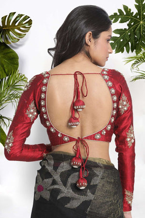Maroon Dupion Blouse With Zardosi Hand Embroidery Blouse Roopkatha - A Story of Art