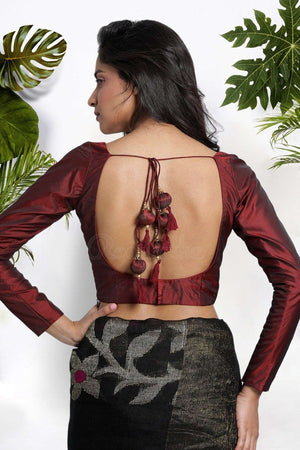 Maroon Art Silk Blouse Blouse Roopkatha - A Story of Art