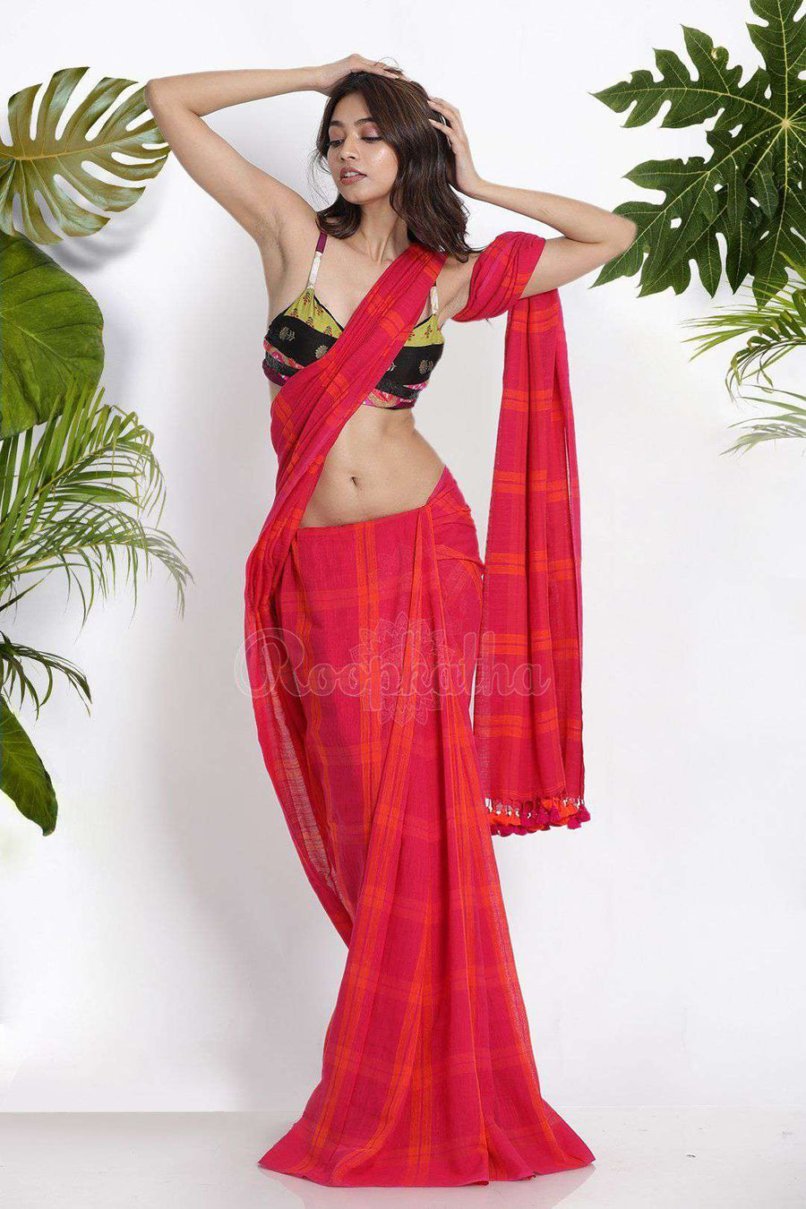 Pink Pure Cotton Saree With Checks Cotton Threads Of India Roopkatha - A Story of Art